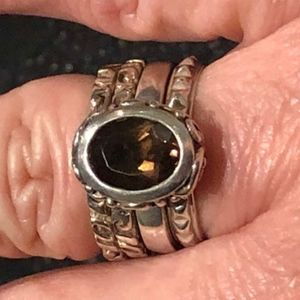 Silpada Ring - Stacked Smokey Quartz  Sterling 925